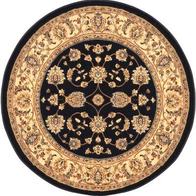 Triumph Woven Black Oriental Rug Rug Size: Round 52