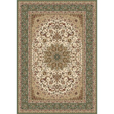 Regency Ivory/Green Area Rug Rug Size: Runner 27 x 78