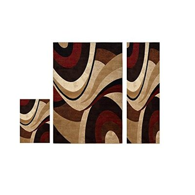 Home Dynamix Tribeca 3 Piece Brown/Red Area Rug Set