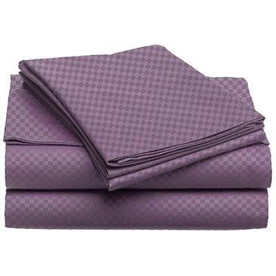 Willow Check 4 Piece 80 GSM Microfiber Sheet Set Size: Queen, Color: Purple