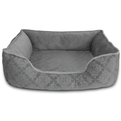 Comfy Pooch Bed Bolster Size: Large (28 L x 20 W), Color: Gray Damask Flocked