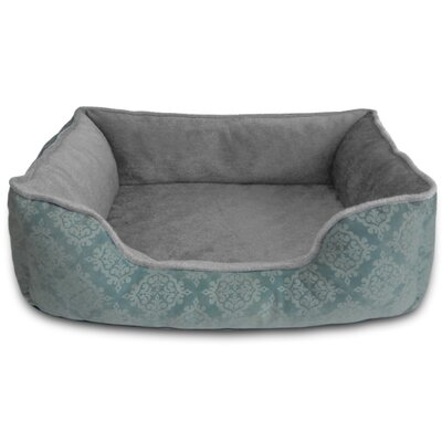 Comfy Pooch Bed Bolster Color: Blue Damask Flocked, Size: Small (20 L x 16 W)
