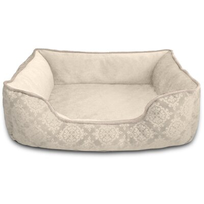 Comfy Pooch Bed Bolster Color: Beige Damask Flocked, Size: Small (20 L x 16 W)