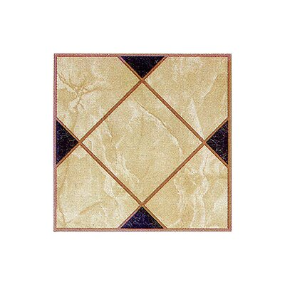 Vinyl Light Brown Squares Cross Floor Tile (Set of 20)
