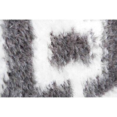 Abarca Gray/Ivory Shag Area Rug Rug Size: 53 x 72