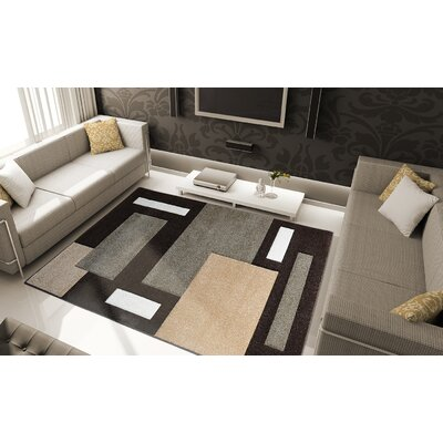 Sumatra Brown Cubes Area Rug Rug Size: Rectangle 78 x 102