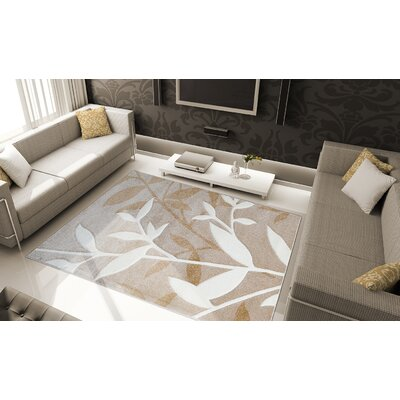 Sumatra Brown Stems Area Rug Rug Size: Rectangle 52 x 72