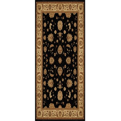 Triumph Black Floral Area Rug Rug Size: Runner 22 x 76