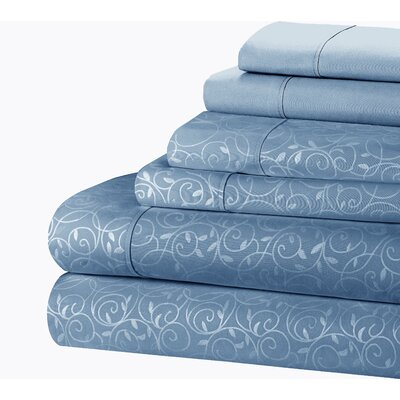 Willow Vine 80 GSM Sheet Set Size: Queen, Color: Blue