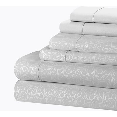 Willow Vine 80 GSM Sheet Set Size: Twin, Color: Gray