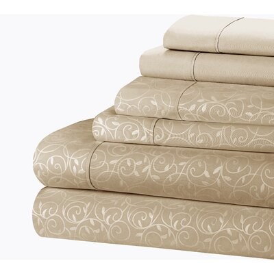 Willow Vine 80 GSM Sheet Set Size: Queen, Color: Ivory