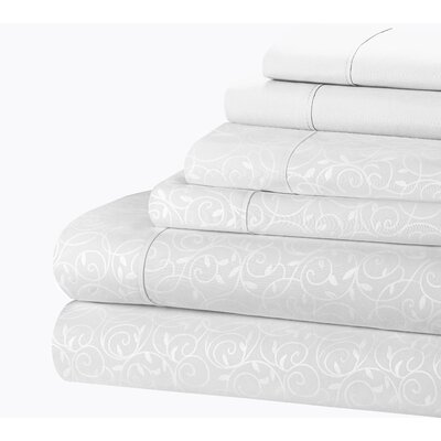 Willow Vine 80 GSM Sheet Set Size: King, Color: Silver