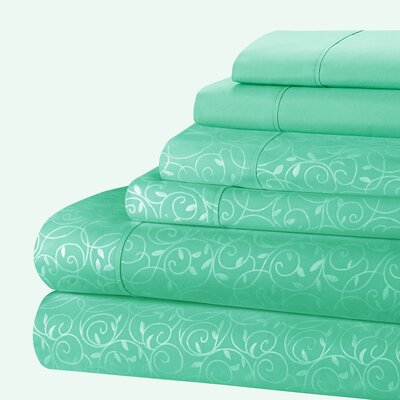 Aylin Vine 80 GSM Sheet Set Size: Queen, Color: Teal