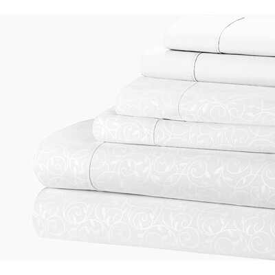 Willow Vine 80 GSM Sheet Set Size: King, Color: White