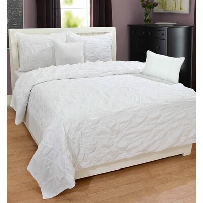 Hodge 100% Cotton 3 Piece Duvet Set Size: Queen, Color: White