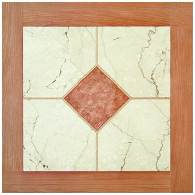 "Paramount 16"" x 16"" Vinyl Woodtone / White Marble Tiles (Set of 6)"