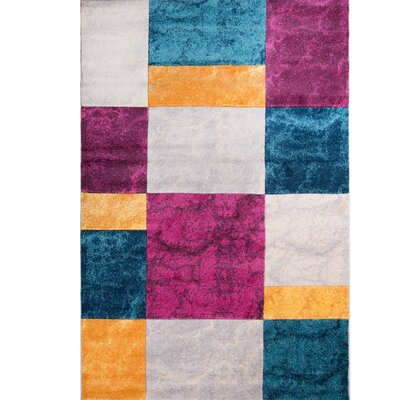 Dufresne Geometric Purple/Yellow Area Rug Rug Size: 52 x 72