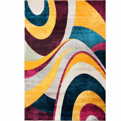 Dufresne Purple/Yellow Area Rug Rug Size: 92 x  125