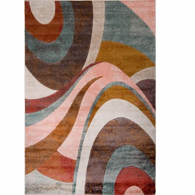Dufresne Brown/Red Area Rug Rug Size: Round 710