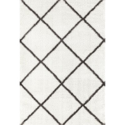 Glenpool Shimmery Shag Ivory/Gray Area Rug Rug Size: Rectangle 53 x 72