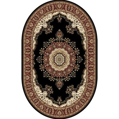 Regency Black Area Rug Rug Size: Oval 39 x 54