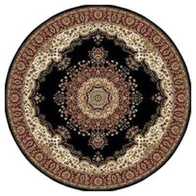 Regency Black Area Rug Rug Size: Round 54