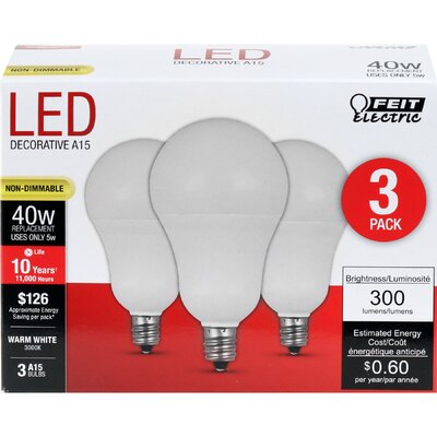 E12 Candelabra LED Light Bulb Pack of 3 Wattage: 5