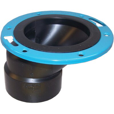 4 x 3 ABS Offset Closet Flange with Metal Ring