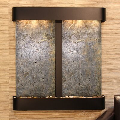 Image of Aspen Falls Natural Stone/Metal Wall Fountain Finish: Blackened Copper, Stone: Green Feather