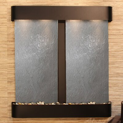 Image of Aspen Falls Natural Stone/Metal Wall Fountain Finish: Blackened Copper, Stone: Black Feather