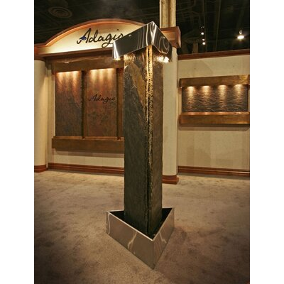 Image of Artesian Springs Natural Stone/Metal Fountain with Light Metal: Stainless Steel, Stone: Green Slate