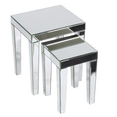 2 Piece Nesting Table Set Color: Silver Mirror