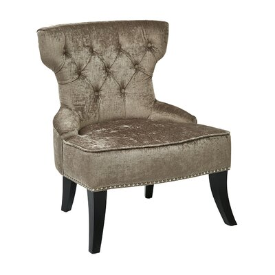 Colton Vintage Tufted Velvet Side Chair Upholstery: Brilliance Otter