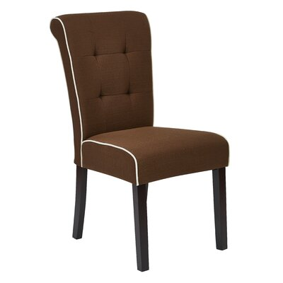Savanna Tufted and Rolled Side Chair Upholstery: Chocolate Brown