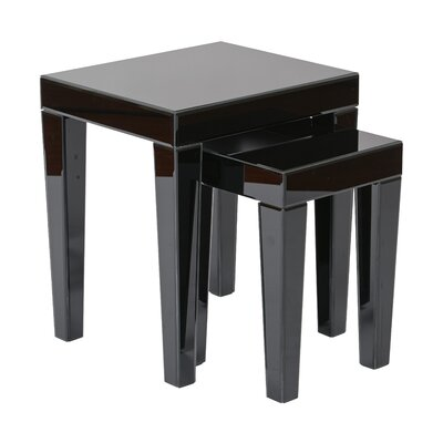 2 Piece Nesting Table Set Color: Black Glass