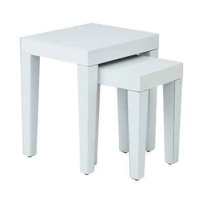 2 Piece Nesting Table Set Color: White Glass