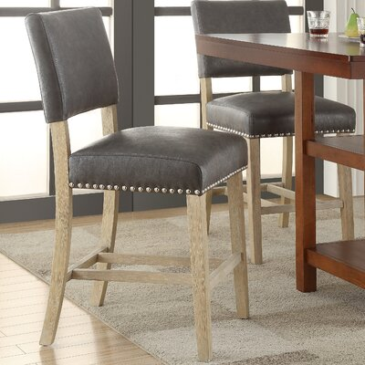 Carson 24 Bar Stool Upholstery: Bonded Leather - Elite Pewter
