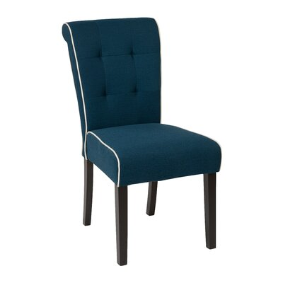 Savanna Tufted and Rolled Side Chair Upholstery: Klein Azure