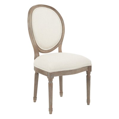 Lilian Oval Back Dining Side Chair Upholstery: Linen