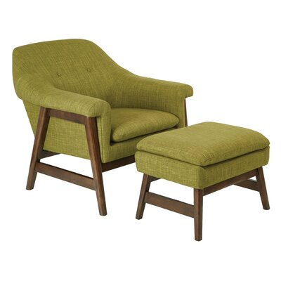 Flynton Lounge Chair and Ottoman Upholstery: Green
