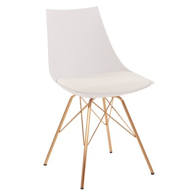 Maynard Upholstered Dining Chair Color: White/Gold