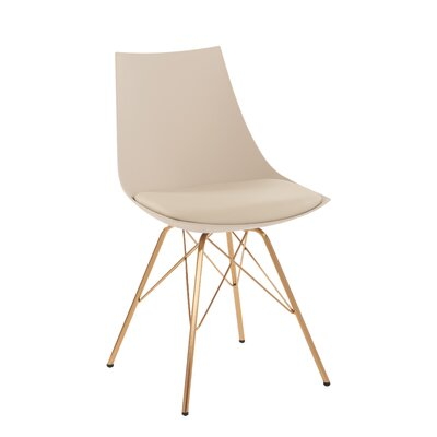 Maynard Upholstered Dining Chair Color: Cream/Gold