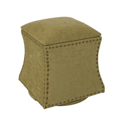 Montriel Storage Ottoman Upholstery: Oilve, Nailhead Detail: Antique Brass