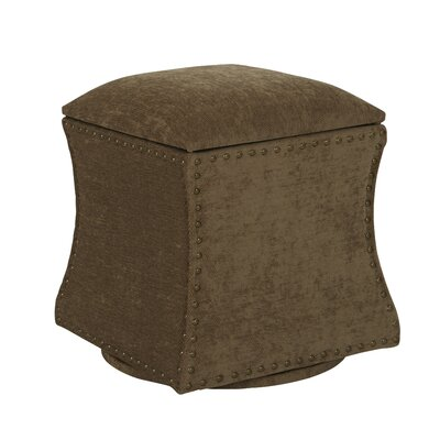 Montriel Swivel Storage Ottoman Upholstery: Earth, Nailhead Detail: Antique Brass