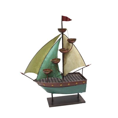Metal Sailor Ship with 5 Leaf Cup Tier Floor Fountain MAZ258