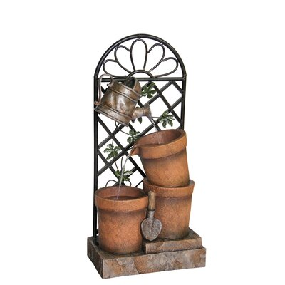 Polystone/Metal Flower Pot and Garden Tool Fountain