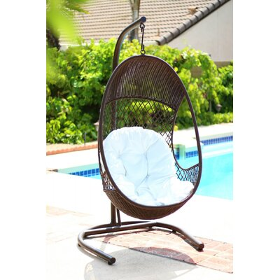 Alpine PE Wicker Swing Chair with Stand