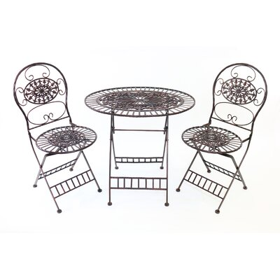 3 Piece Bistro Set Finish: Brown