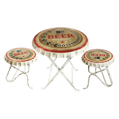 Hershel Metal Beer Bottle Cap 3 Piece Dining Set