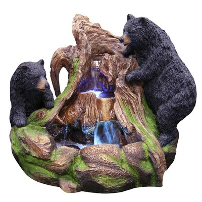 Image of 2 Bears Climbing on Rainforest Fountain with LED Light